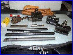 (3) Aloris BXA Quick Change Tool Holders with Tools BXA-1, BXA-2, BXA-6
