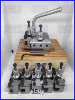 8 Pieces Set T37 Quick-Change Tool post With 5 Standard, 1 Vee, 1 Parting holders