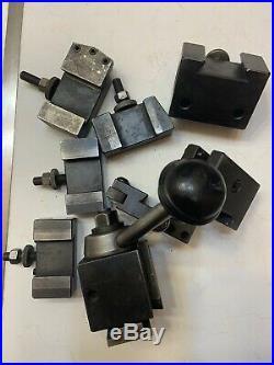Aloris AXA Quick Change Wedge Tool Post W 7 tool holders Ect. Lathe Machinist