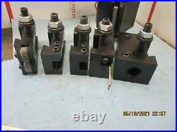 Atlas Craftsman Quick Change Wedge Type AXA Tool Post W / 5 Tool Holders