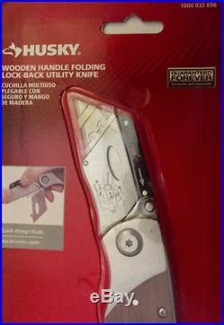 HUSKY Utility Knife Folding Lock Back Box Cutter Clip Quick Change Wood Handle