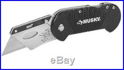 Husky Compact Folding Lock-Back Utility Knife Razor Blade Cutter Quick Change