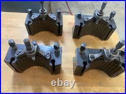 Metal lathe quick change tool post and holders, clausing