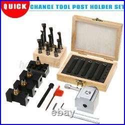 Mini Quick Change Tool Post Holder Set + 3/8'' Boring Bar + 5x Indexable 3/8'