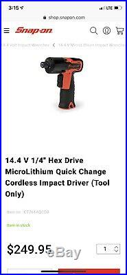 Snap On Tools 14.4v Microlithium Cordless Quick Change Impact Driver 1/4 Hi Viz