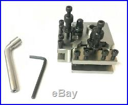 T37 Quick Change Tool Post With 2 Standard, 1 Vee, 1 Parting Holder And Blade