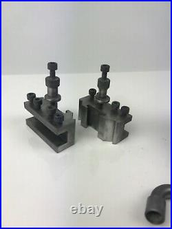 T. 00 Dicksons Quick Change Tool Post & Two Standard Tool Holders & Wrench Myford